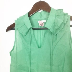 GAP Green Ruffle Neck Tie Front Blouse